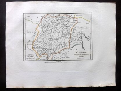 Barthelemy 1824 Antique Map. L'Arcadie. Greece